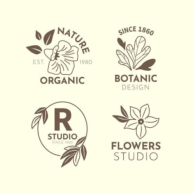 Natuurlijk zakendoen in minimalistische stijl logo collectie Gratis Vector