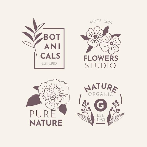 Natuurlijk zakendoen in minimalistische stijl logo set Gratis Vector