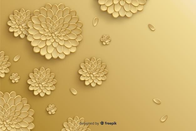 Natuurlijke achtergrond met 3d gouden bloemen Gratis Vector