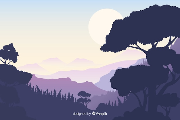 Natuurlijke achtergrond met bergenlandschap Gratis Vector