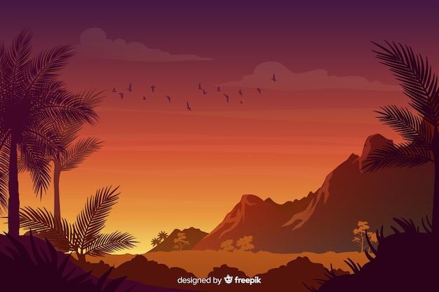 Natuurlijke achtergrond met gradiënt tropisch boslandschap Gratis Vector