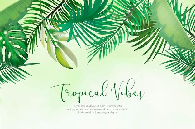 Natuurlijke achtergrond met handgeschilderde tropische bladeren Gratis Vector