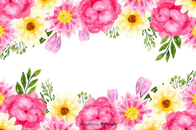 Natuurlijke achtergrond met kleurrijke aquarel bloemen Gratis Vector