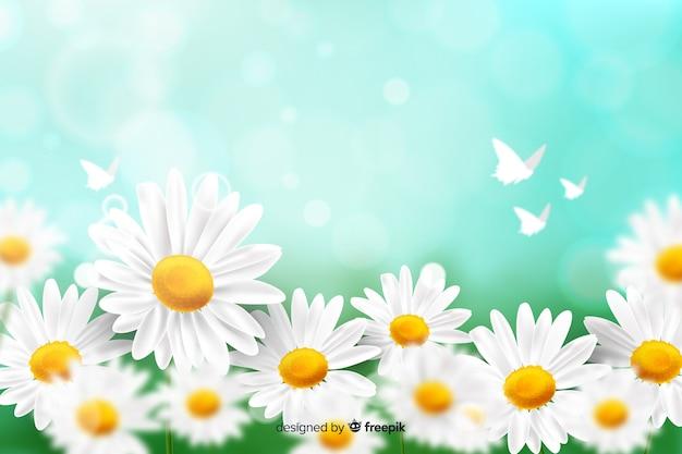 Natuurlijke achtergrond met realistische bloemen Gratis Vector