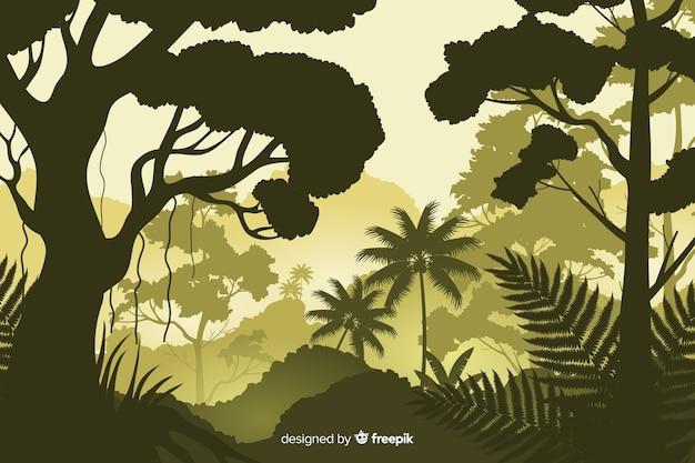 Natuurlijke achtergrond met tropisch boslandschap Gratis Vector