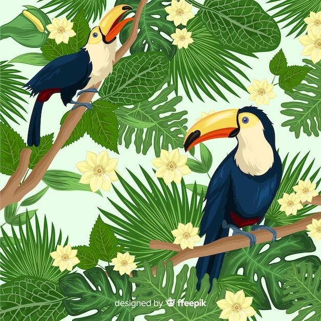 Natuurlijke achtergrond met tropische bloemen Premium Vector