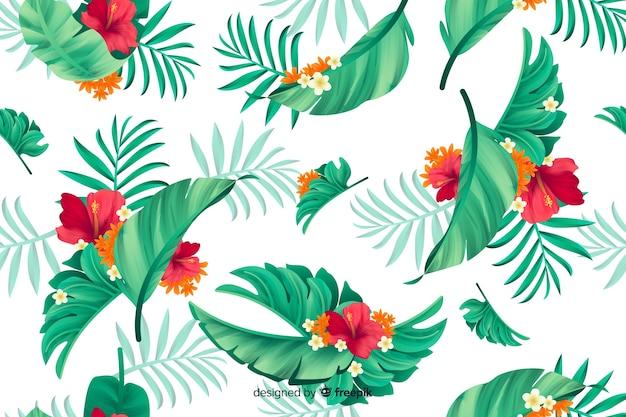 Natuurlijke achtergrond met tropische bloemen Gratis Vector