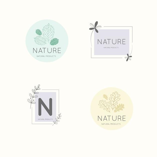 Natuurlijke bedrijfslogo-collectie in minimalistische stijl Gratis Vector