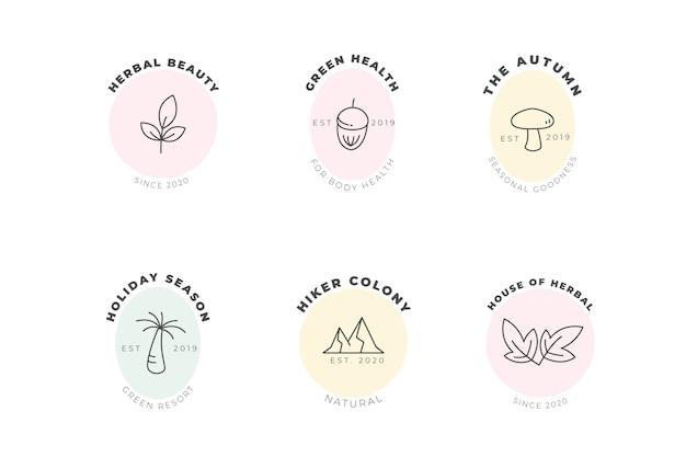 Natuurlijke bedrijfslogo sjabloon in minimalistische stijlcollectie Gratis Vector