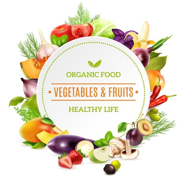 Natuurlijke biologisch voedsel achtergrond Gratis Vector