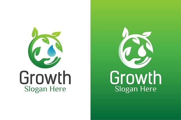 Natuurlijke bladverzorging en waterdruppel ecologie logo. Premium Vector