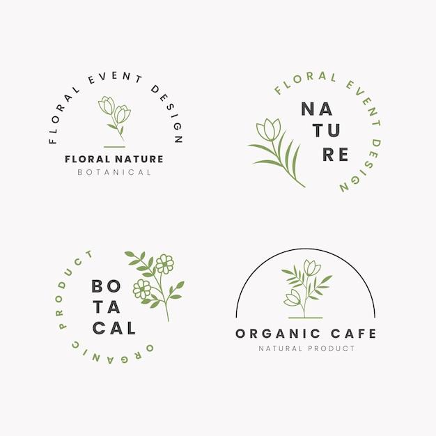 Natuurlijke business logo pack sjabloon in minimalistische stijl Gratis Vector