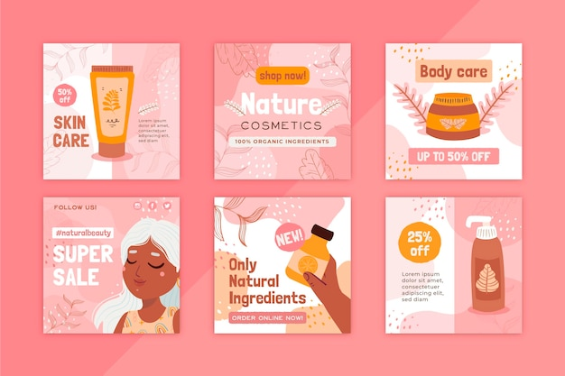 Natuurlijke cosmetica lichaam gezonde zorg instagram post Premium Vector