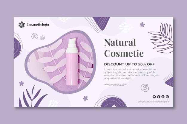 Natuurlijke cosmetische sjabloon voor spandoek Premium Vector