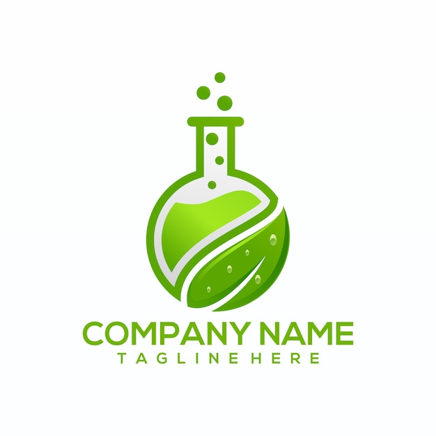 Natuurlijke groene lab logo vector, sjabloon Premium Vector