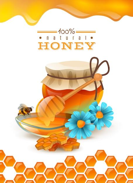 Natuurlijke honing Gratis Vector