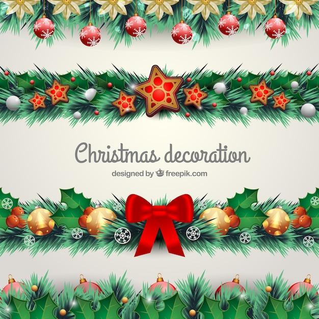Natuurlijke kerstdecoratie set Gratis Vector