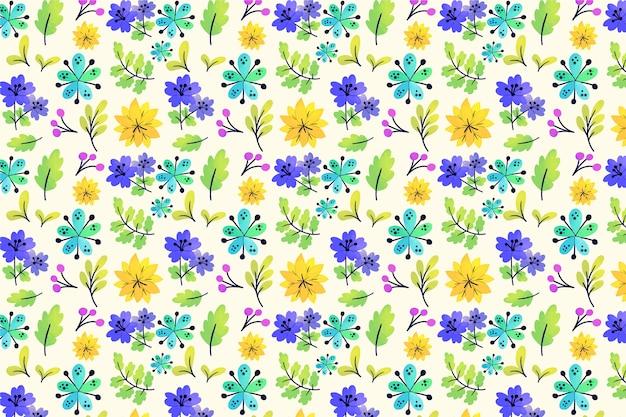 Natuurlijke kleurrijke ditsy bloemen en bladerenachtergrond Gratis Vector