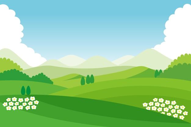 Natuurlijke landschapsachtergrond voor videoconferenties Gratis Vector