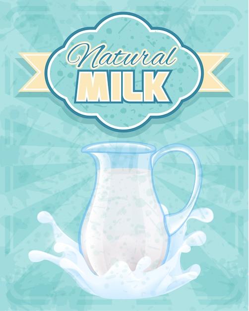 Natuurlijke melkwaterkruik illustratie Gratis Vector