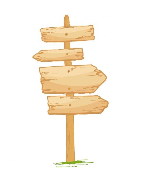 Natuurlijke oude geweven houten uithangborden met barsten en gras Premium Vector