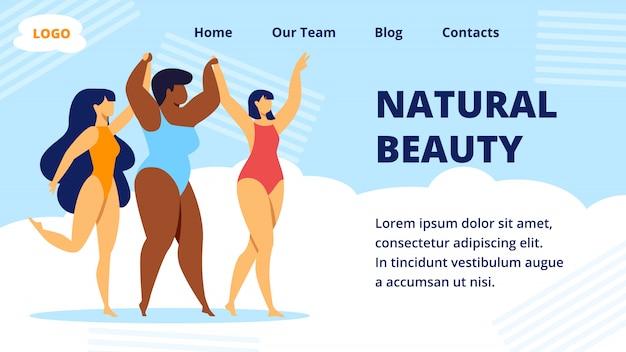 Natuurlijke schoonheid multiraciale vrouwen. websjabloon bestemmingspagina Premium Vector