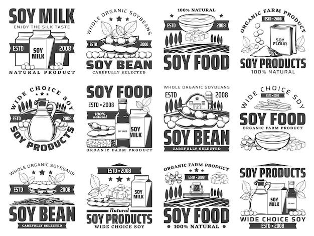 Natuurlijke soja voedselproducten retro set. sojamelkbox, zak met bloem en oliefles, saus, tofu-huid en kaas, tempeh-stuk gegraveerd. biologische sojaboerderij, vegetarische voedselwinkelemblemen Premium Vector