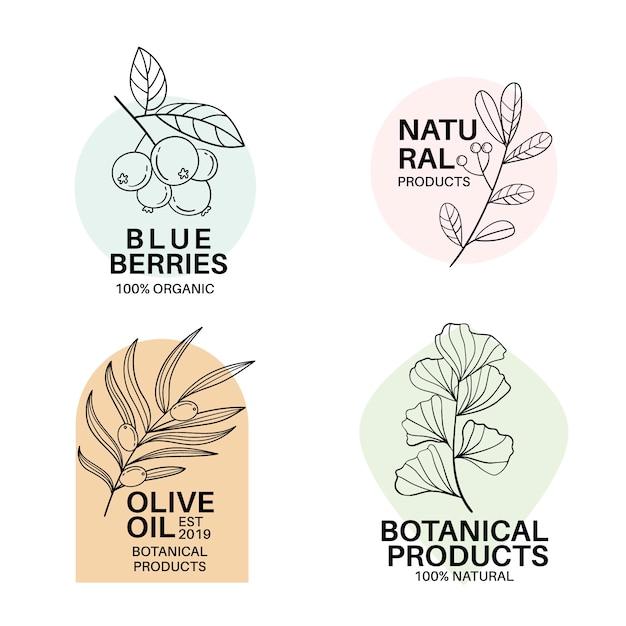 Natuurlijke zakelijke logo sjabloon collectie in minimalistische stijl Gratis Vector