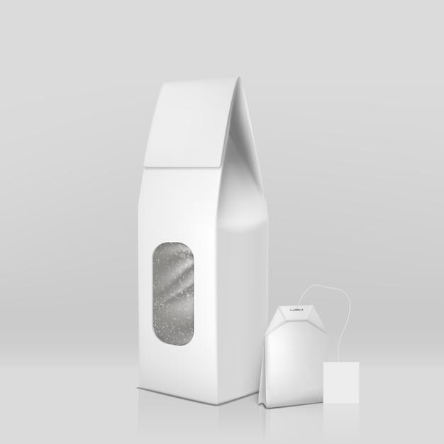 Natuurlijke zwarte thee verpakking 3d-realistisch met theezakje en blanco wit, luchtdicht verzegeld papier Gratis Vector