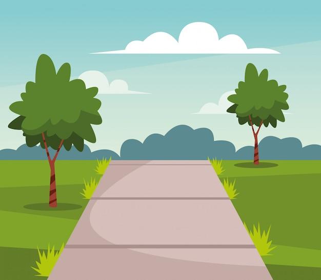 Natuurpark met bomen en pad landschap cartoon Gratis Vector