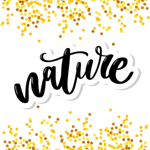 Natuurproductsticker - handgeschreven moderne kalligrafie op grunge groene verfstreken. eco-vriendelijk concept voor stickers, banners, kaarten, advertentie. vector ecologie natuur ontwerp. Premium Vector