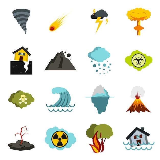Natuurramp geplaatste pictogrammen, vlakke ctyle Premium Vector