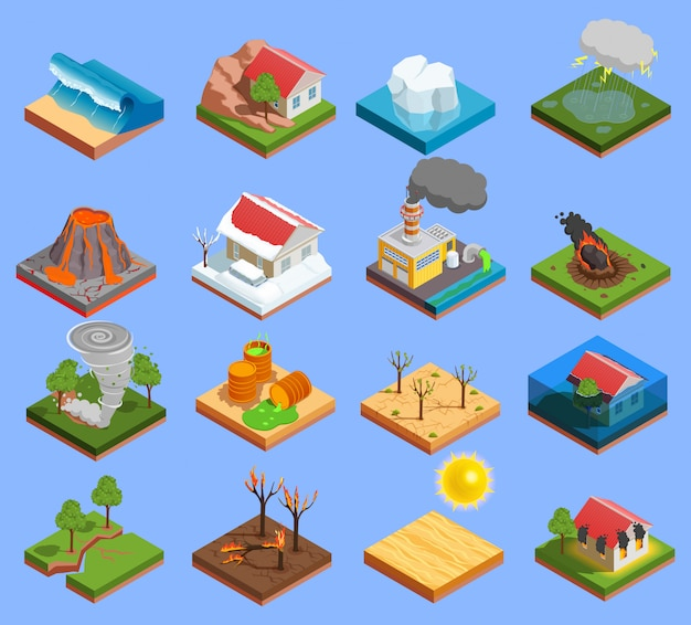 Natuurramp icons set Gratis Vector