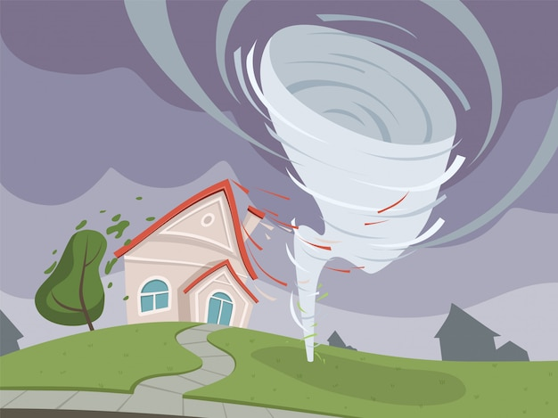 Natuurramp illustratie. weer milieuschade dramatische apocalyps vector cartoon Premium Vector