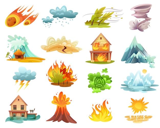 Natuurrampen cartoon icons set Gratis Vector