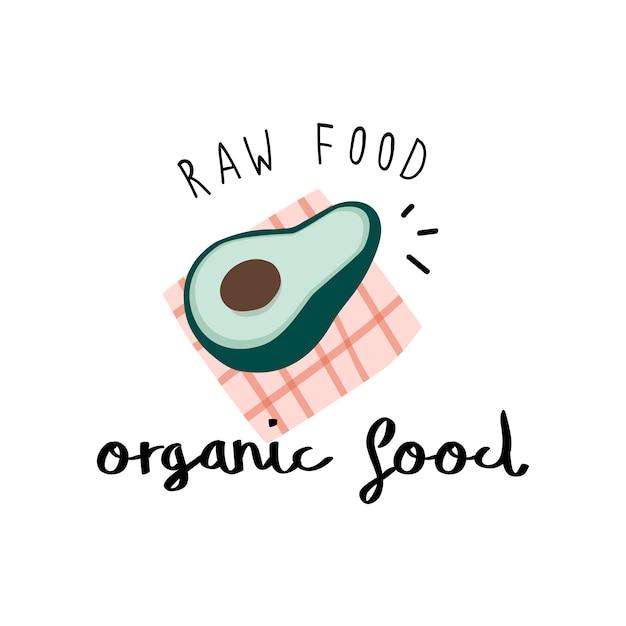 Natuurvoeding met een avocado-vector Gratis Vector