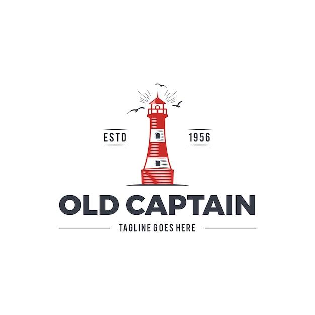Nautisch logo-ontwerp met vuurtoren en tekst - oude kapitein Premium Vector