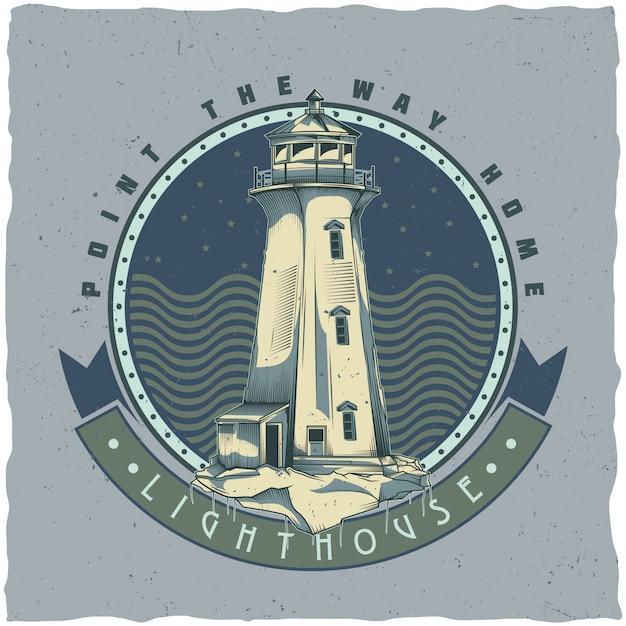 Nautisch t-shirt labelontwerp met illustratie van de oude vuurtoren. hand getekende illustratie. Gratis Vector