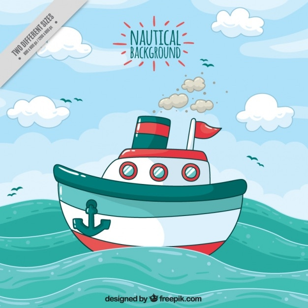 Nautische achtergrond met schip en golven Gratis Vector