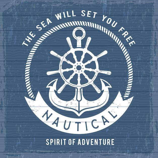 Nautische anker poster. oceaan jachthaven marine symbolen op boot of schip voor retro matroos plakkaat. vintage zee piraten Premium Vector
