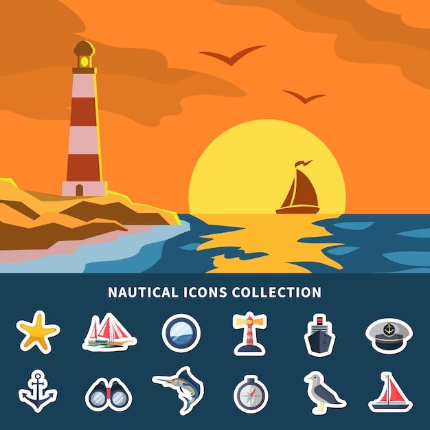Nautische elementen-collectie Gratis Vector