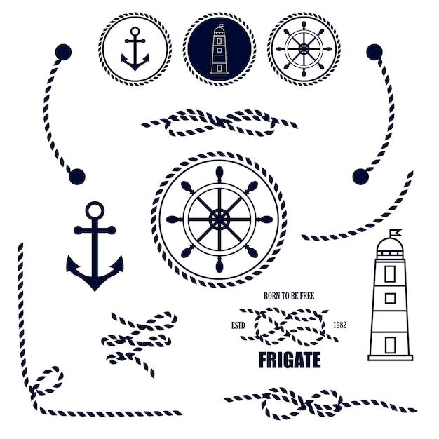 Nautische en marine pictogrammen Premium Vector