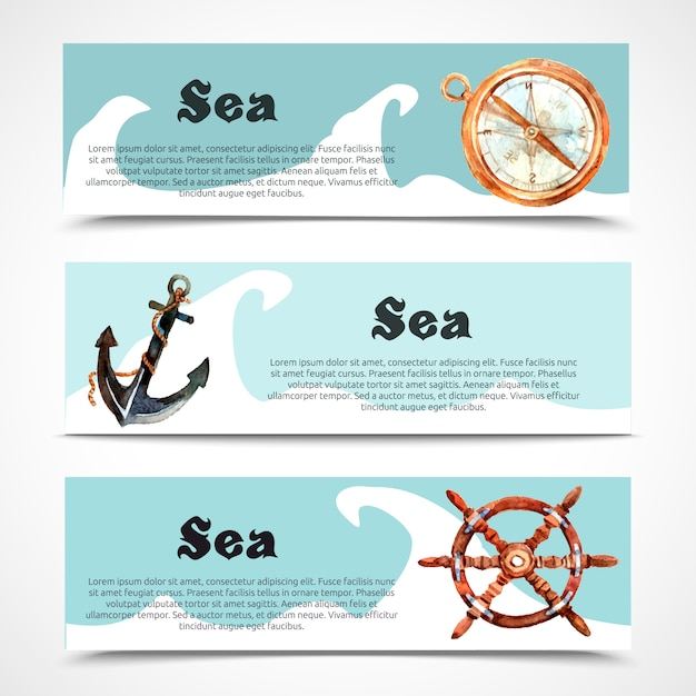 Nautische en zee horizontale banner ingesteld Gratis Vector