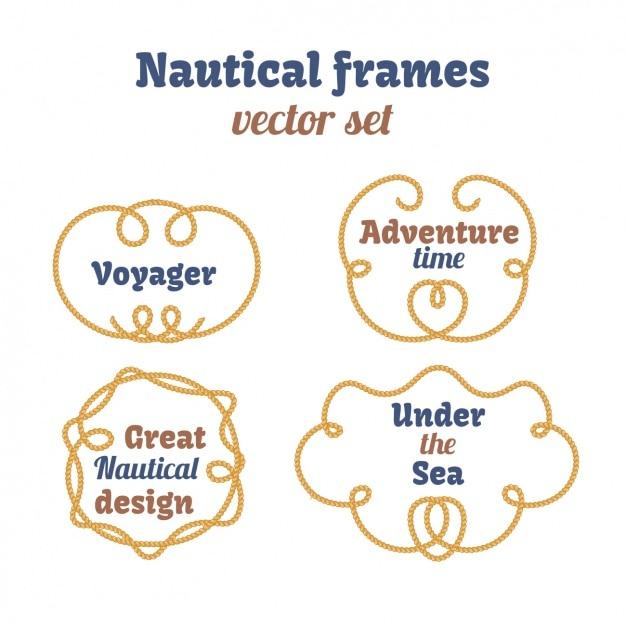 Nautische frames inzameling Gratis Vector