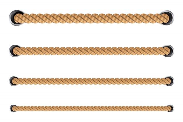 Nautische gedraaide touwknopen, lussen. Premium Vector