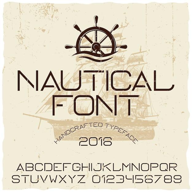 Nautische handgemaakte lettertype poster met schip in het midden Gratis Vector