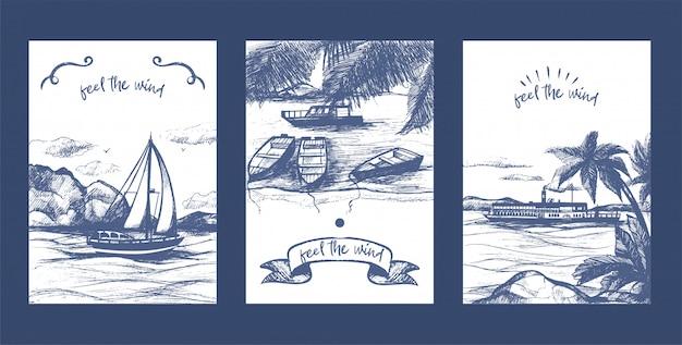 Nautische jacht, zeilboten en schip schets vector kaartenset. jachtschip hand getrokken. zee- en nautische zeilregatta. Premium Vector