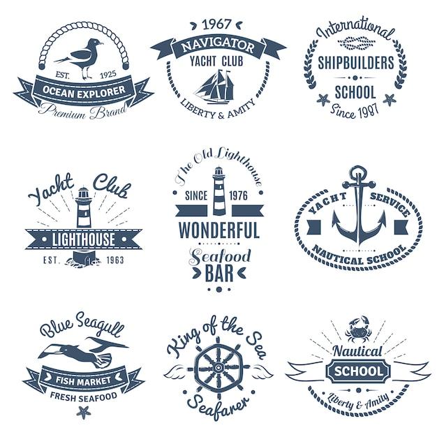Nautische marine etiketten en logo's instellen Gratis Vector