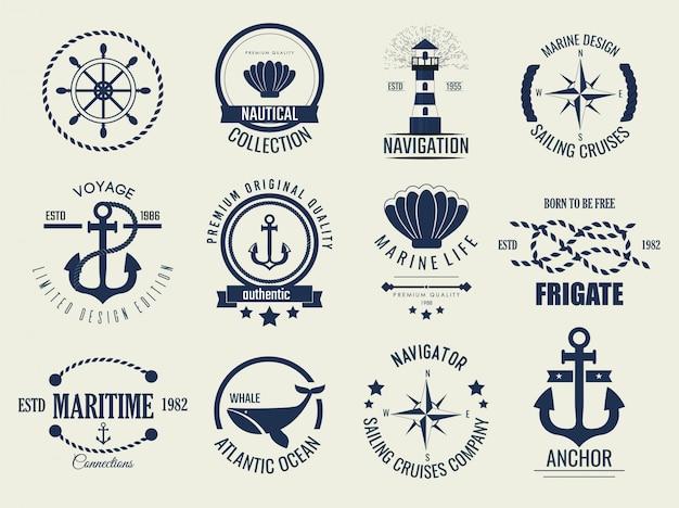 Nautische vintage labels en pictogrammen. Premium Vector