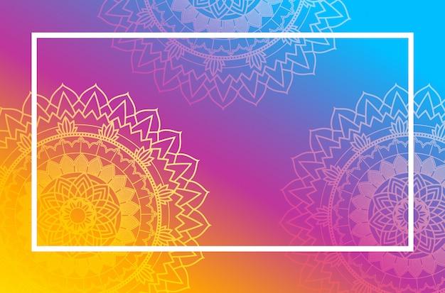 Navaratri poster met mandala patroon Gratis Vector